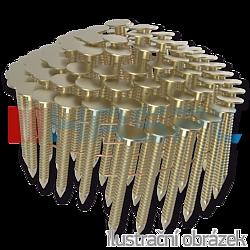 Gwoździe papowe łączone drutem 3,05 x 25 mm,  pierścieniowe, żółty cynk