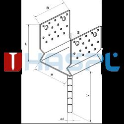 Lacznik belki do betonu przetlaczany Typ U 90x80x4,0 - 3