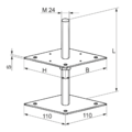 Wspornik slupa 80x80x330x4,0 M24 - 3/3